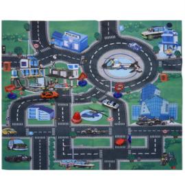 Játszószőnyeg 4 db kisautóval és 5 db közlekedési táblával, 70 x 80 cm