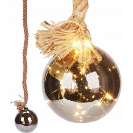 10 LED-es elemes gömb kötél karácsonyi dekoráció, 1m