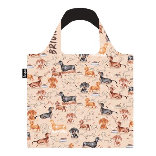 Briony újrahasznosított bevásárló táska - tacskó mintás