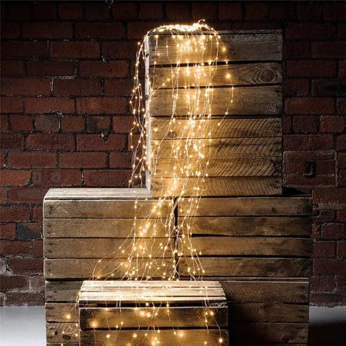 200 micro LED-es kültéri-beltéri fényfüggöny, meleg fehér