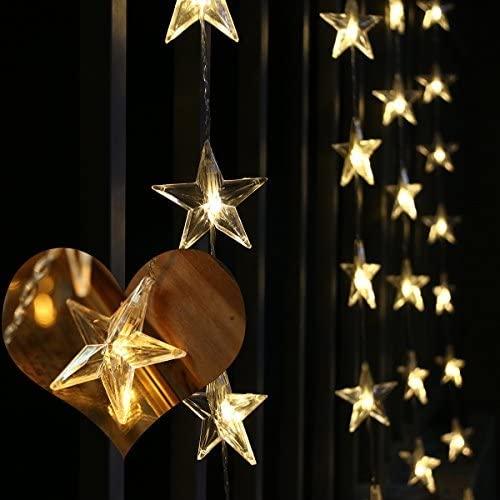 50 LED-es csillag fényfüggöny, hálózati adapteres, meleg fehér