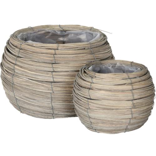 2 db-os fonott vessző kaspó készlet, 24 és 17,5 cm