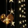 Kép 1/7 - 50 LED-es csillag fényfüggöny, hálózati adapteres, meleg fehér