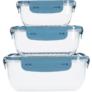 Kép 1/3 - 3 db-os mikrózható műanyag ételtároló doboz szett