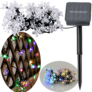 Kép 3/4 - 50 LED-es, napelemes virág dekor kerti fényfüzér, színes, 6,9 m