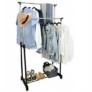 Kép 4/6 - Gurulós dupla fém ruhaállvány, ruhatartó állvány állítható magassággal 160 cm-ig